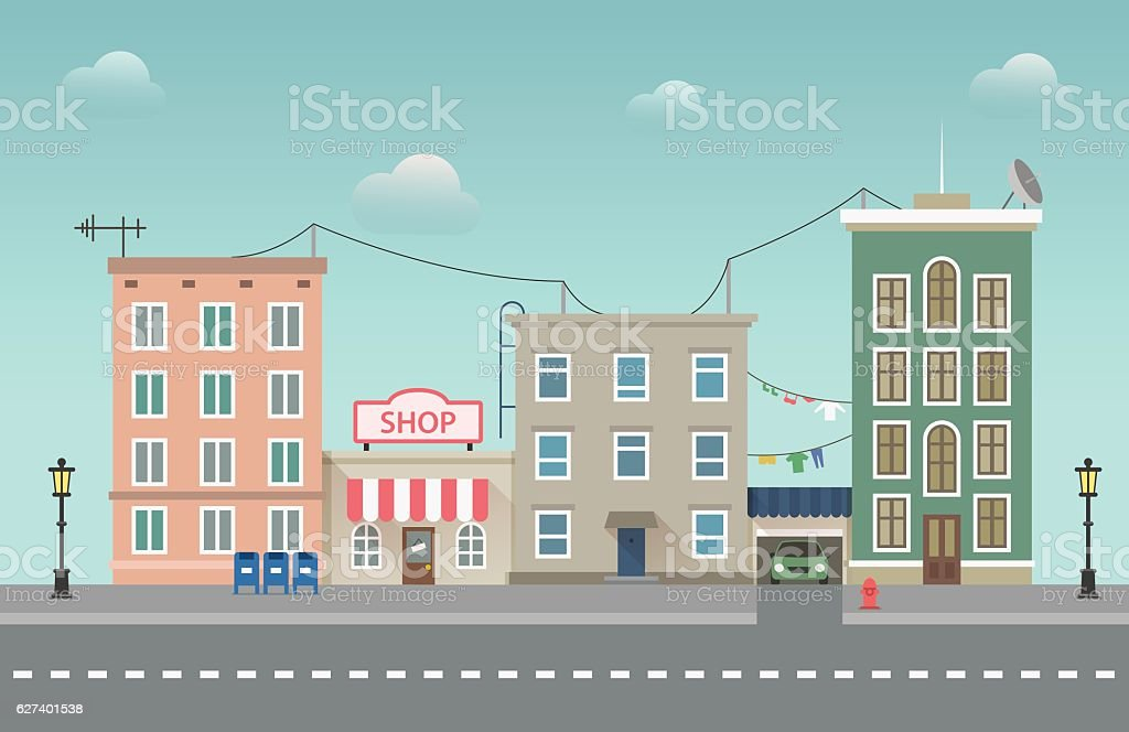 Day city urban landscape. Small town vector flat illustration
