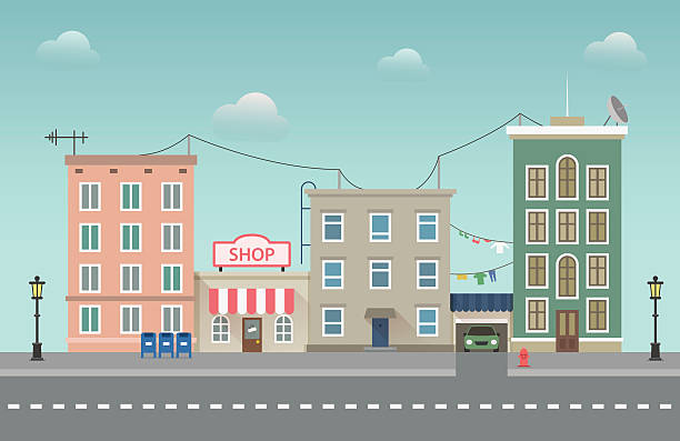 day city urban landscape. small town vector flat illustration - apartment stock illustrations, clip art, cartoons, & icons