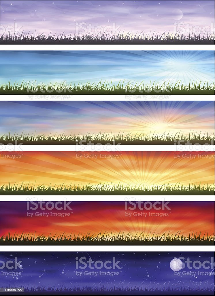 Day cycle - same landscape at different times vector art illustration
