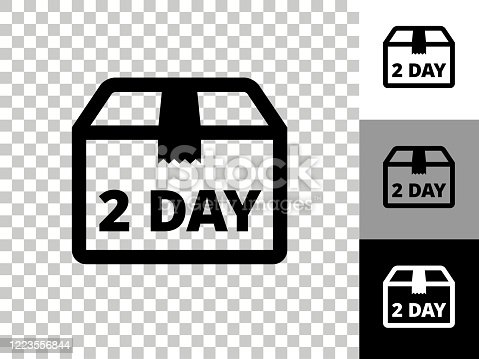 istock 2 Day Delivery Icon on Checkerboard Transparent Background 1223556844