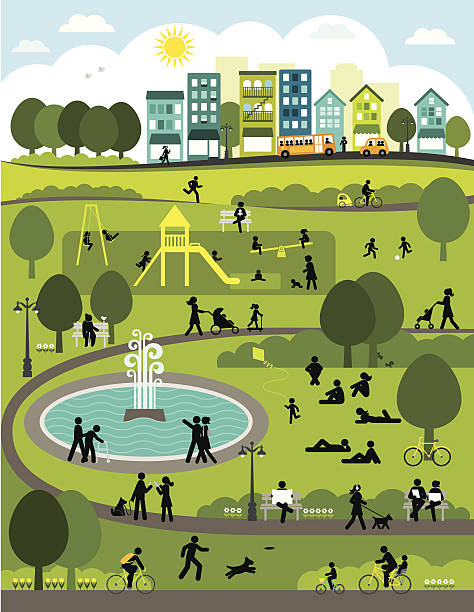 day in the city park - old man on bike stock illustrations, clip art, cartoons, & icons
