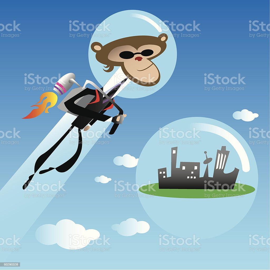 Day in the Life of a Jetpack Munkey royalty-free stock vector art