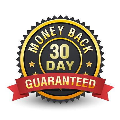 30 Day money back guarantee heavy metallic badge on white background.