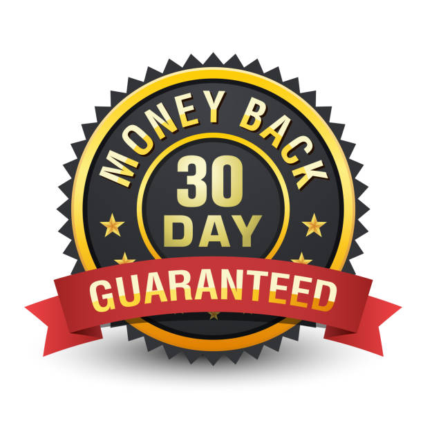 30 day money back guarantee heavy metallic badge on white background. - płacić stock illustrations