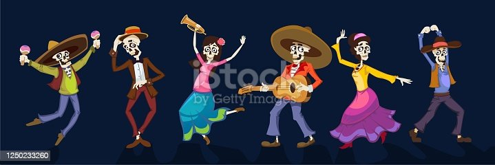 istock Day of dead dancing people in holiday costumes 1250233260