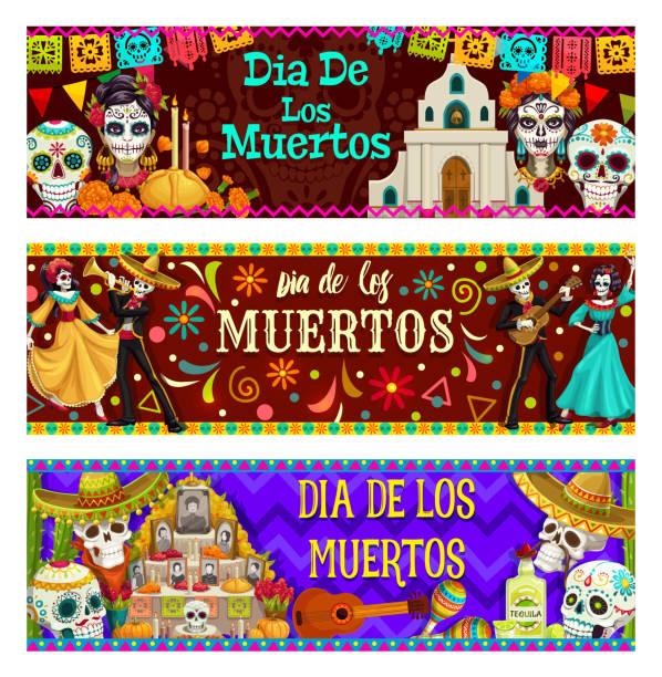 stockillustraties, clipart, cartoons en iconen met dag van de dood, dia de los muertos vakantie in mexico - slaginstrument