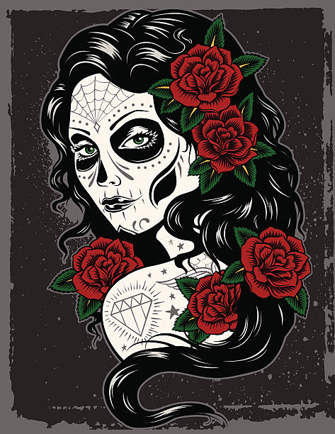 Day Of Dead Girl Day Of Dead Girl skulls tattoos stock illustrations