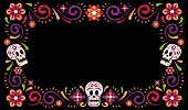 Day of dead mexican carnival celebration frame design with sugar skull. Dia de muertos Holiday flower border. Vector illustration.
