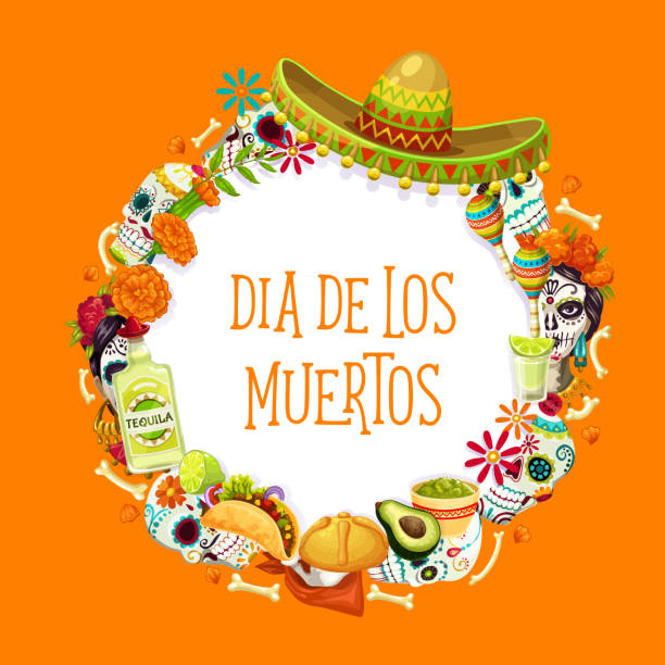 Day of Dead Mexican holiday symbols and lettering Dia de los Muertos traditional symbols in round frame. Vector Day of Dead in Mexico, sombrero hat, catrina Frida skulls, sugar calavera and tequila. Avocado and burritos, tagetes flowers and maracas avocado borders stock illustrations