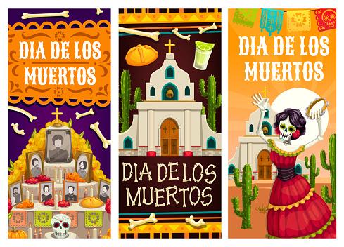 Day of Dead or Mexican Dia de los Muertos banners