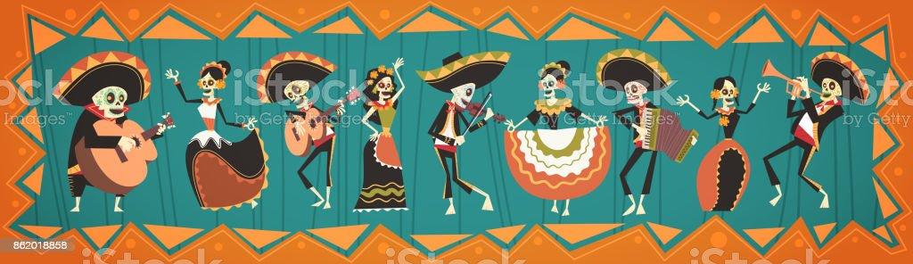 Dag av döda traditionella mexikanska Halloween Dia De Los Muertos Holiday dekoration Banner inbjudan - Royaltyfri Affisch vektorgrafik