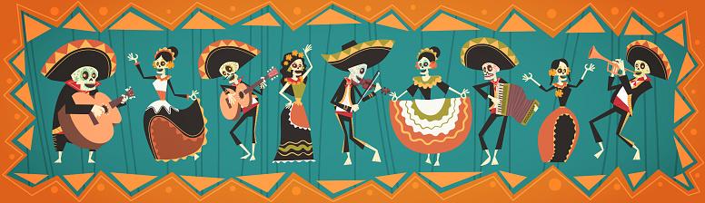 Dag Av Döda Traditionella Mexikanska Halloween Dia De Los Muertos Holiday Dekoration Banner Inbjudan-vektorgrafik och fler bilder på Affisch