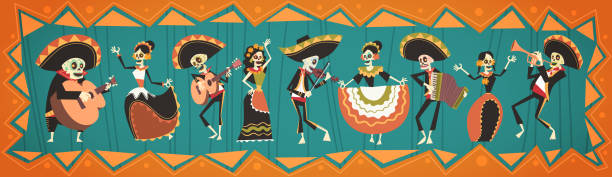 Day Of Dead Traditional Mexican Halloween Dia De Los Muertos Holiday Party Decoration Banner Invitation Day Of Dead Traditional Mexican Halloween Dia De Los Muertos Holiday Party Decoration Banner Invitation Flat Vector Illustration invitational stock illustrations