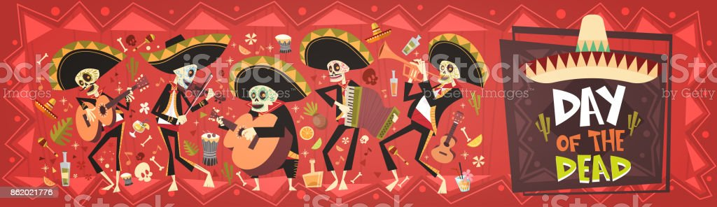 Day Of Dead Traditional Mexican Halloween Dia De Los Muertos Holiday Party Decoration Banner Invitation vector art illustration