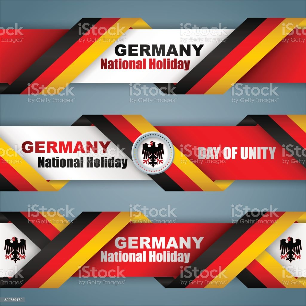 Day of German Unity, web banners vector art illustration