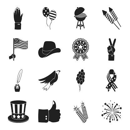 애국의 날 디자인에 대 한 설정된 컬렉션에 휴일 블랙 아이콘 미국 전통 벡터 기호 재고 웹 그림입니다 국가 관광명소에 대한 스톡 벡터 아트 및 기타 이미지