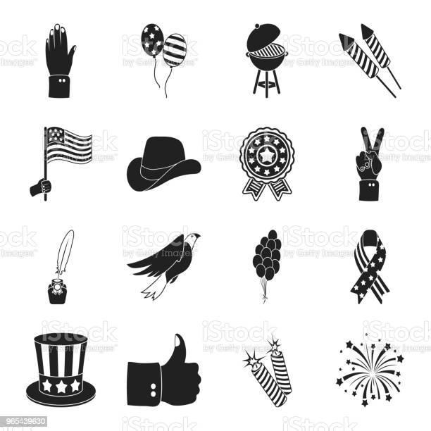 Vetores de Dia Do Patriota Ícones De Férias Preto Na Coleção Definida Para O Projeto Ilustração De Estoque Web Símbolo Vetorial Tradição Americana e mais imagens de Chapéu