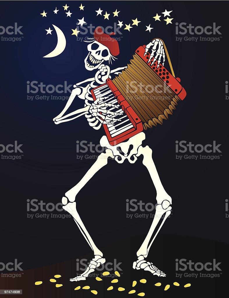 Día de los muertos _acordeón jugando esqueleto - ilustración de arte vectorial