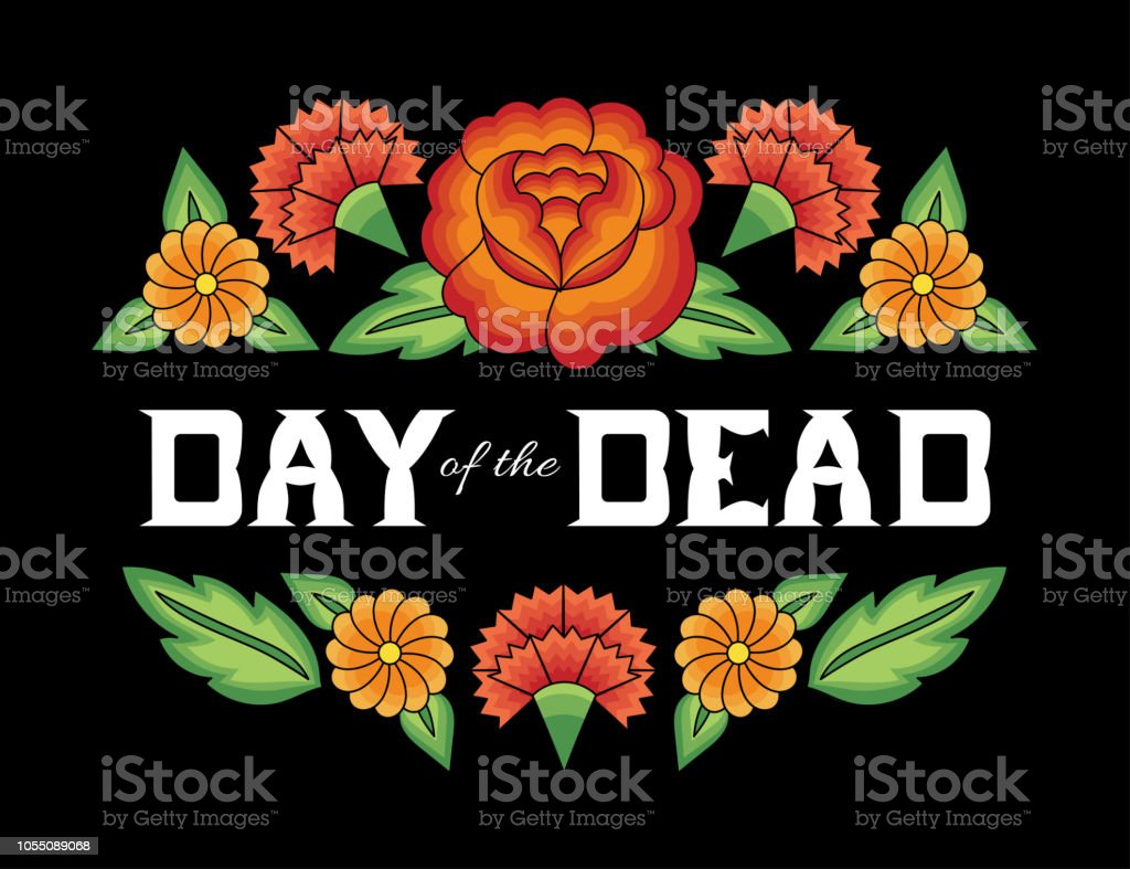 Day of the dead background vector. Flowers mexican folk pattern with traditional tehuana huipil embroidery ornament. Vintage floral illustration for fiesta party banner, mexico poster, greeting card.