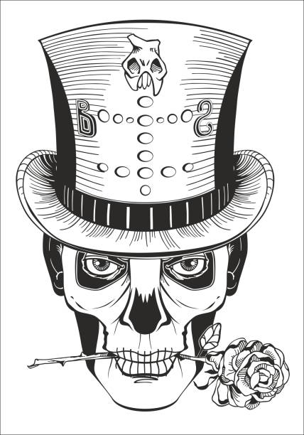 day of the dead, baron samedi drawing day of the dead, baron samedi drawing, vector voodoo stock illustrations