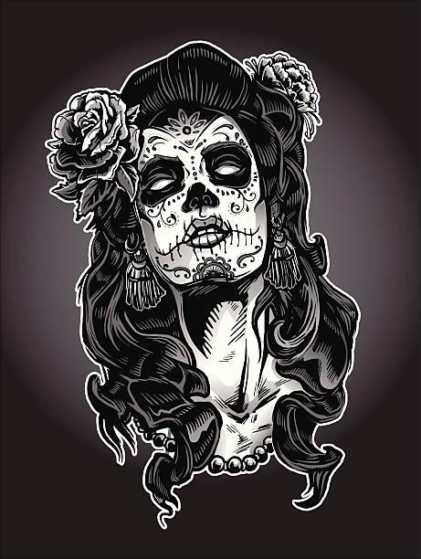 Day of the Dead Calavera Woman vector art illustration