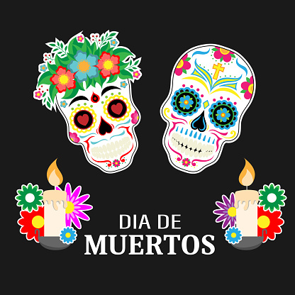Day of the dead card. Skulls and candles with black background