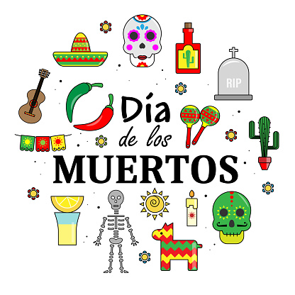 Day of the dead card. Traditional celebration of Mexico