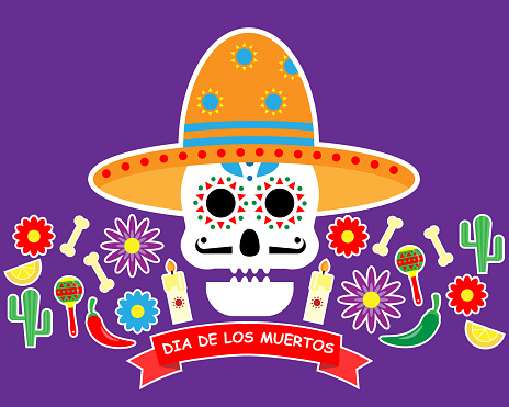 Day of the dead card. Traditional celebration of Mexico.