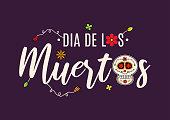 Day of the Dead card with skull. Dia de los Muertos. Vector illustration. EPS10