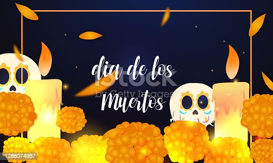 istock Day of the Dead card with skull on Blue background. 1288074957