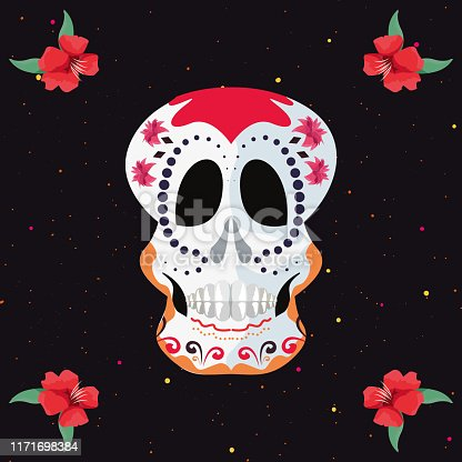 day of the dead color skull flowers confetti decoration vector illustration
