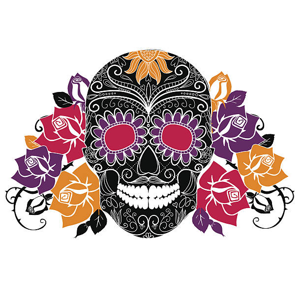 Day of The Dead colorful Skull with floral ornament vector art illustration
