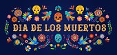 istock Day of the dead, Dia de los moertos, banner with colorful Mexican flowers. Fiesta, holiday poster, party flyer, greeting card 1009386418