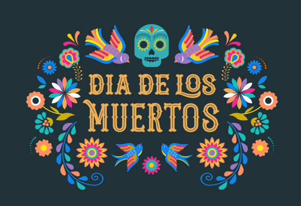 Day of the dead, Dia de los moertos, banner with colorful Mexican flowers. Fiesta, holiday poster, party flyer, greeting card vector art illustration
