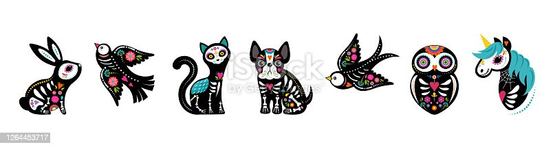 istock Day of the dead, Dia de los muertos, animals skeletons collection, dog, bird, unicorn, bunny and cat skulls and skeleton decorated with colorful Mexican elements and flowers. Fiesta, Halloween, holiday poster, party flyer. Vector illustration 1264453717