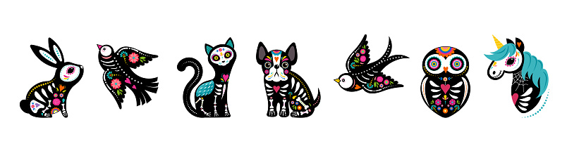 Day of the dead, Dia de los muertos, animals skeletons collection, dog, bird, unicorn, bunny and cat skulls and skeleton decorated with colorful Mexican elements and flowers. Fiesta, Halloween, holiday poster, party flyer. Vector illustration