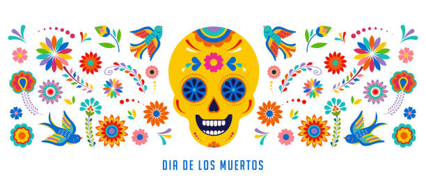 Day of the dead, Dia de los muertos background, banner and greeting card concept with sugar skull. Day of the dead, Dia de los muertos background, banner and greeting card concept with sugar skull. Colorful vector illustration backgrounds clipart stock illustrations