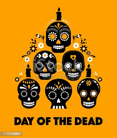 Day of the dead, Dia de los muertos, banner with colorful Mexican flowers. Fiesta, holiday poster, party flyer, funny greeting card