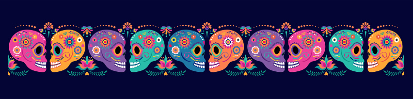 Day of the dead, Dia de los muertos, banner with colorful Mexican flowers. Fiesta, Halloween holiday poster, party flyer, funny greeting card