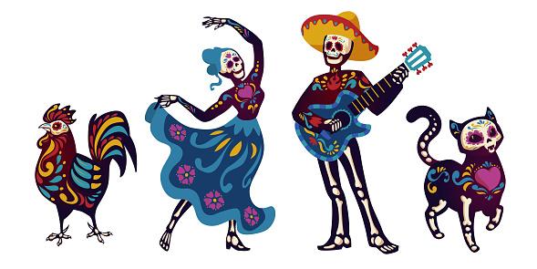 Day of the dead Dia de los muertos characters set