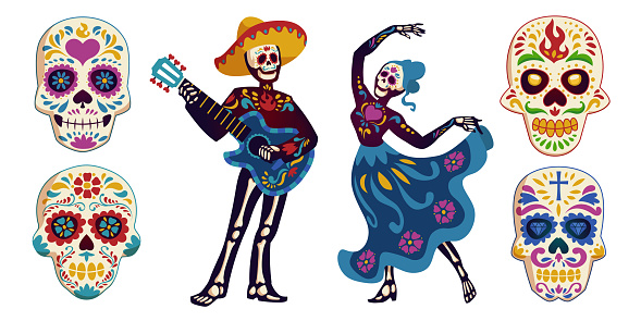 Day of the dead, Dia de los muertos characters