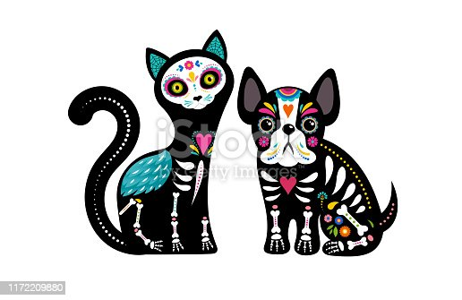 istock Day of the dead, Dia de los muertos, dog and cat skulls and skeleton decorated with colorful Mexican elements and flowers. Fiesta, Halloween, holiday poster, party flyer. Vector illustration 1172209880