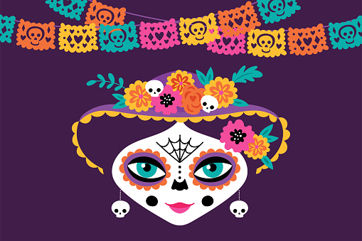 Day of the dead Dia de los Muertos holiday greeting card design with cute woman skull. Childish print for card, poster and party invitations. Vector illustration