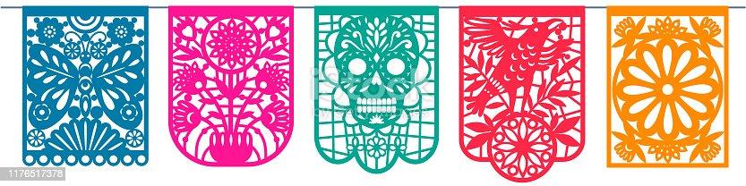 istock Day of the dead, Dia de los Muertos, paper cut flags, Papel Picado 1176517378