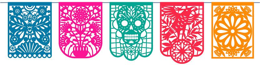 Day of the dead, Dia de los Muertos, paper cut flags, Papel Picado