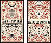 Day of the dead. Dia de los muertos. Set of banner templates. Design elements for poster, flyer, banner. Vector illustration
