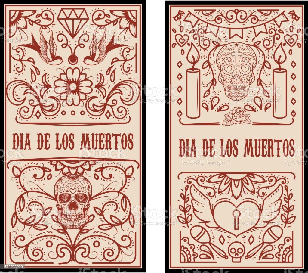 day of the dead dia de los muertos set of banner templates stock
