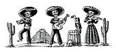Day of the Dead, Dia de los Muertos. Skeleton play