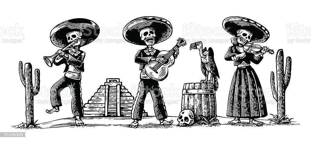 Day of the Dead, Dia de los Muertos. Skeleton play vector art illustration