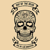 Day of the Dead. Dia de los Muertos. Sugar skull with floral pattern. Design element for poster, greeting card. Vector illustration